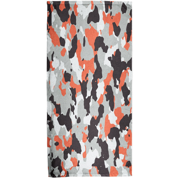Grey and Orange Camo All Over Bath Towel