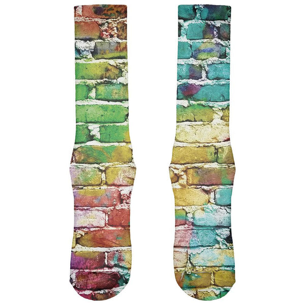 Colored Bricks All Over Crew Socks