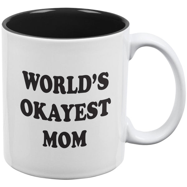 World's Okayest Mom White/Black All Over Coffee Mug