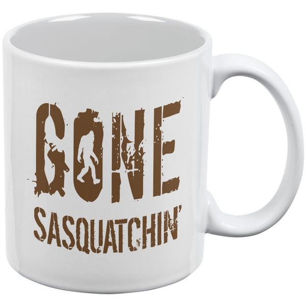 Gone Sasquatchin' White All Over Coffee Mug