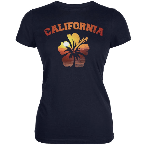 California Hibiscus Navy Juniors Soft T-Shirt