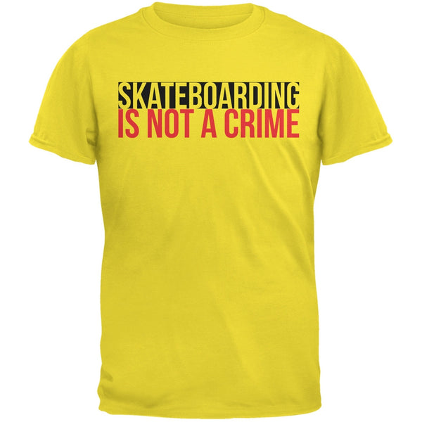 Skateboarding Is Not A Crime Yellow Adult T-Shirt