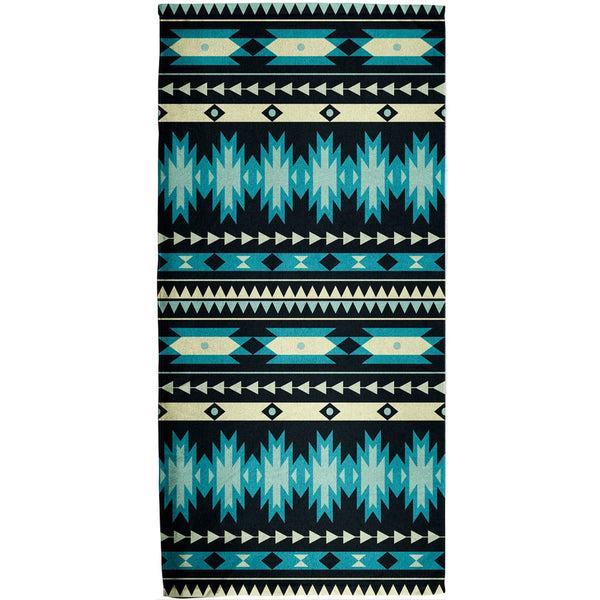 Native American Pattern Blue All Over Bath Towel