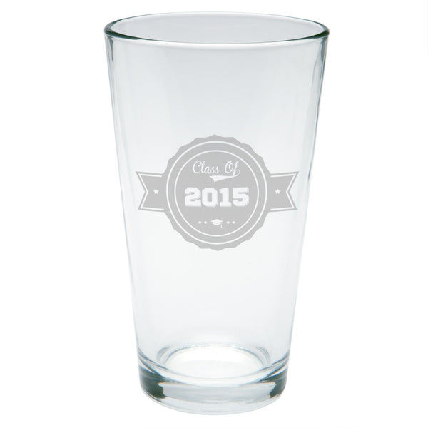 Graduation Grad Badge Etched Pint Glass