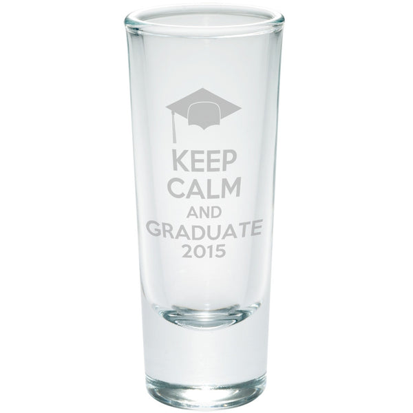 Graduaiton Keep Calm & Graduate Etched Shot Glass Shooter