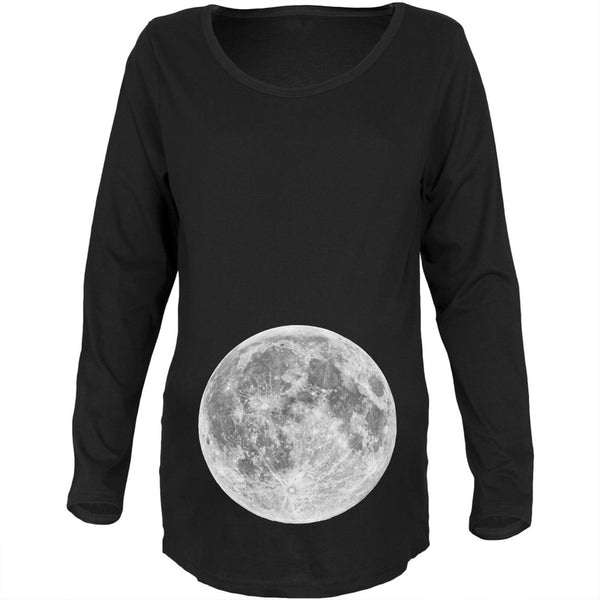 Earth's Moon Belly Black Maternity Soft Long Sleeve T-Shirt