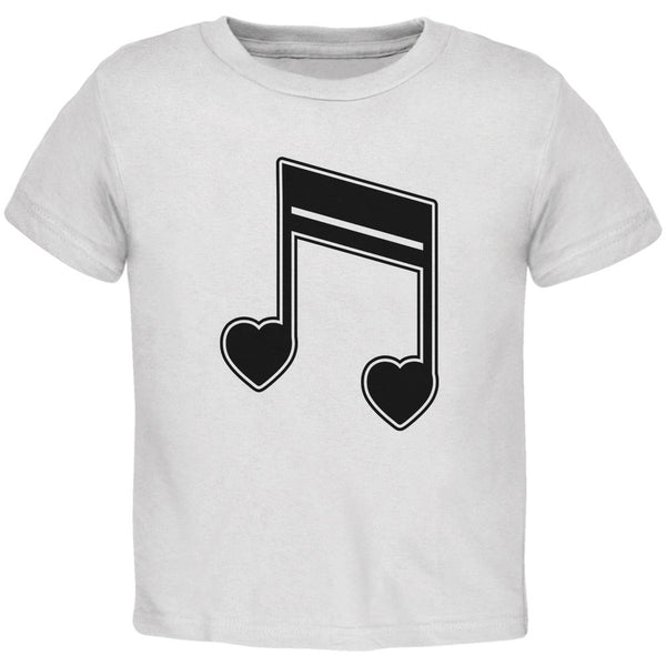 16th Note Hearts White Toddler T-Shirt