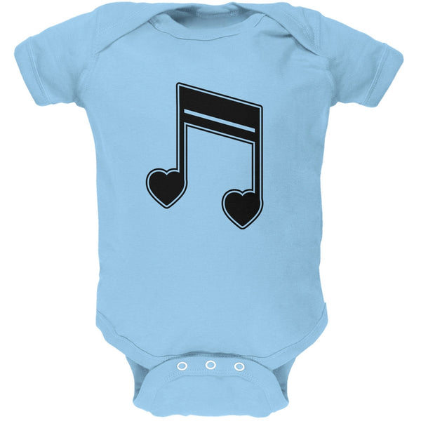 16th Note Hearts Light Blue Soft Baby One Piece