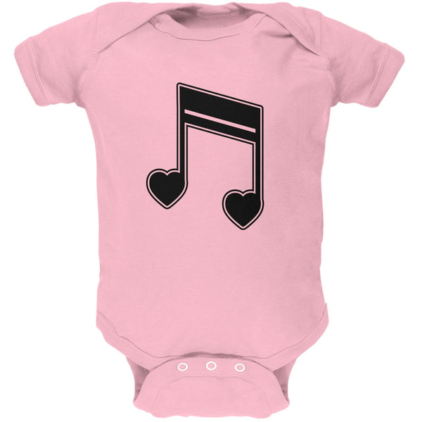 16th Note Hearts Light Pink Soft Baby One Piece