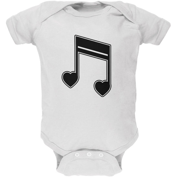 16th Note Hearts White Soft Baby One Piece