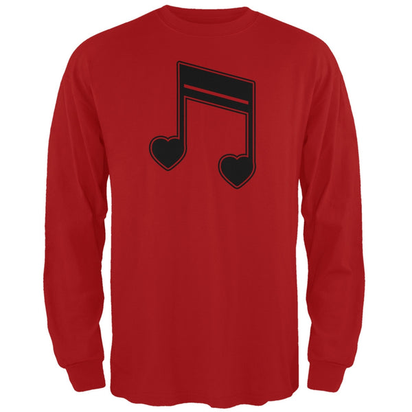 16th Note Hearts Red Adult Long Sleeve T-Shirt
