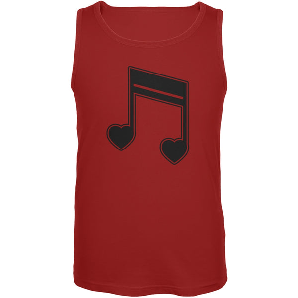 16th Note Hearts Red Adult Tank Top