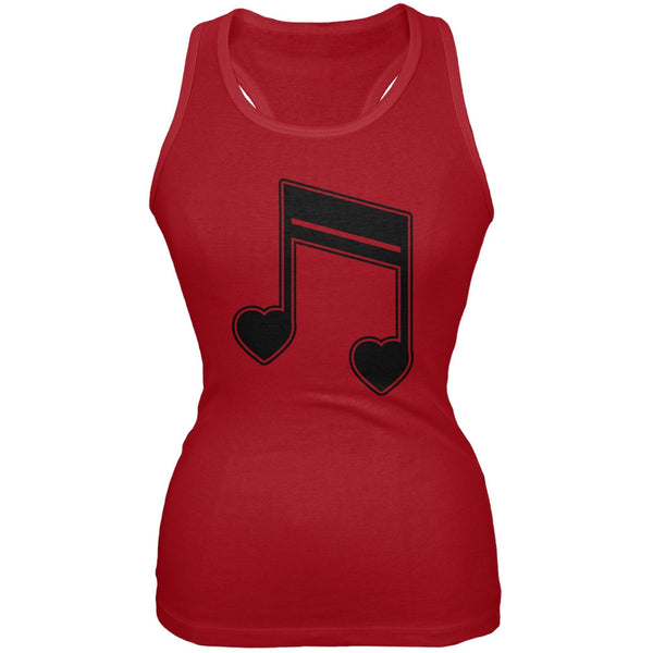 16th Note Hearts Red Soft Juniors Tank