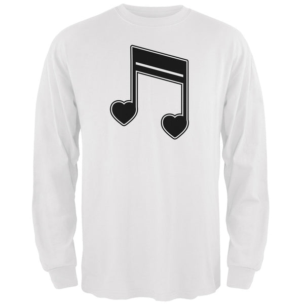 16th Note Hearts White Adult Long Sleeve T-Shirt