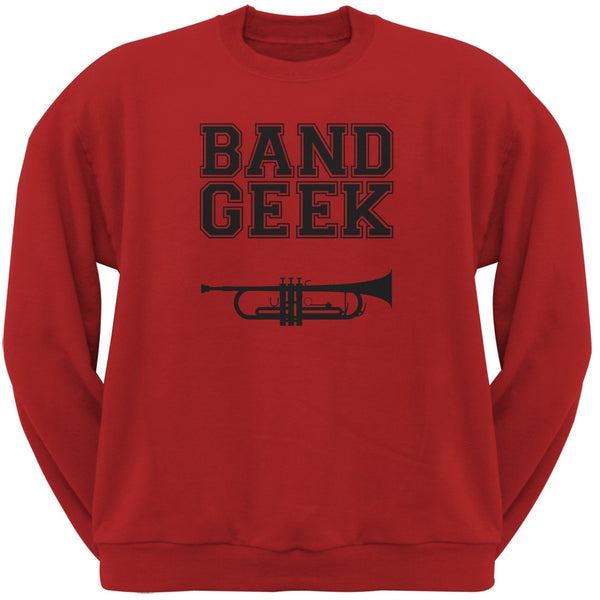 Band Geek Trumpet Red Adult Crewneck Sweatshirt