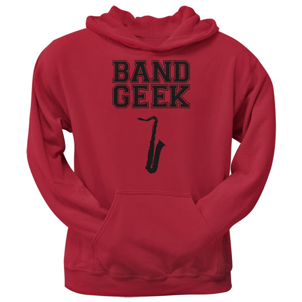 Band Geek Sax Red Adult Hoodie