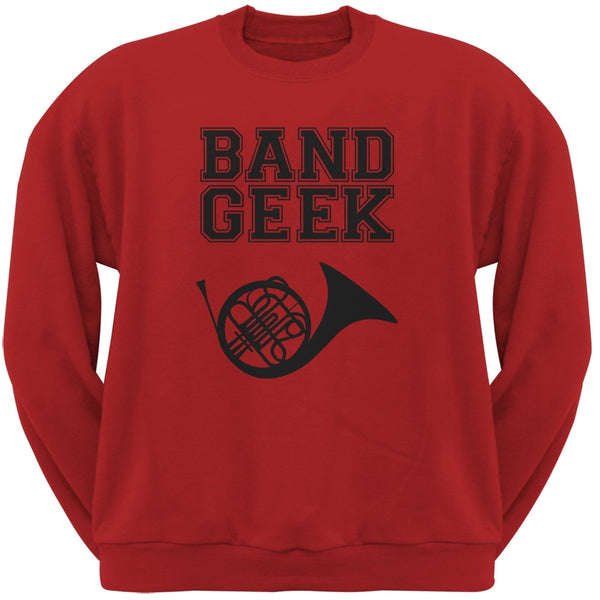 Band Geek French Horn Red Adult Sweatshirt