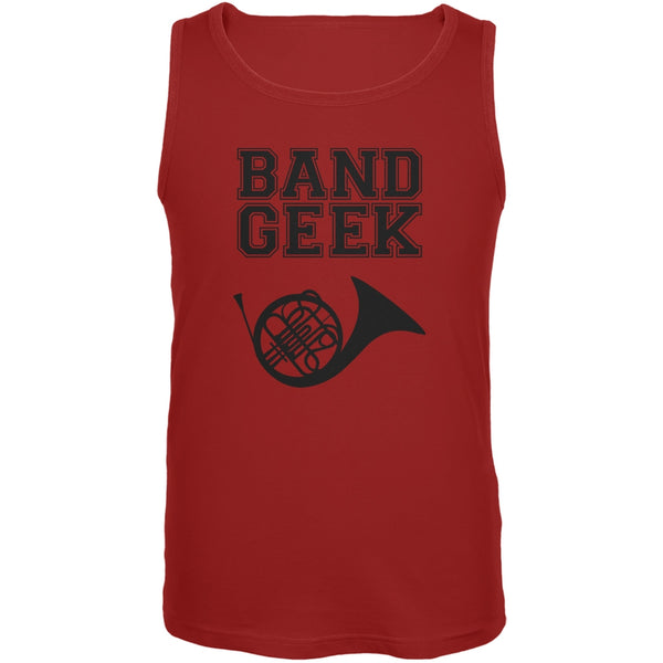 Band Geek French Horn Red Adult Tank Top