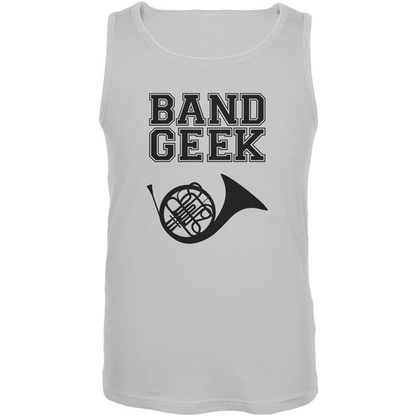 Band Geek French Horn White Adult Tank Top