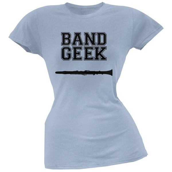 Band Geek Clarinet Light Blue Soft Juniors T-Shirt
