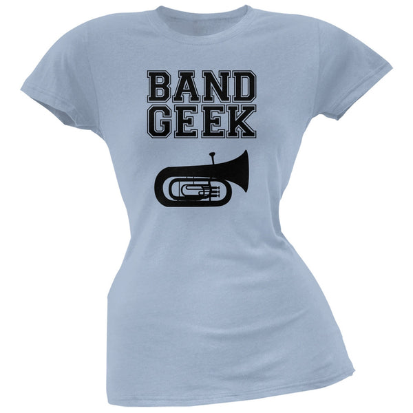 Band Geek Tuba Light Blue Soft Juniors T-Shirt