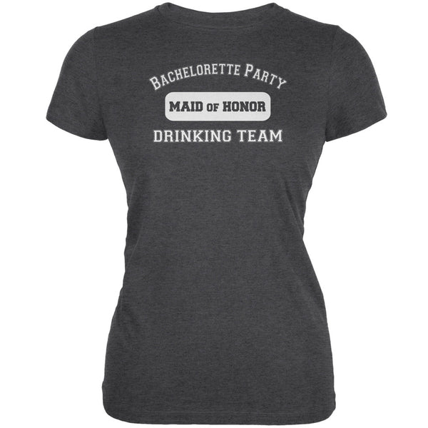 Bachelorette Party Drinking Team MOH Juniors Dark Grey Heather Soft T-Shirt