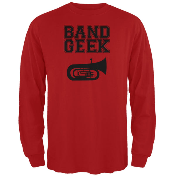 Band Geek Tuba Red Adult Long Sleeve T-Shirt