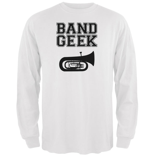 Band Geek Tuba White Adult Long Sleeve T-Shirt