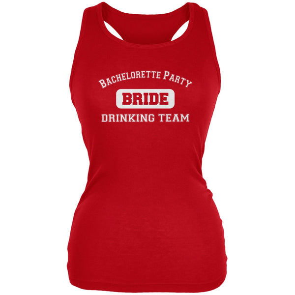 Bachelorette Party Drinking Team Bride Red Juniors Soft Tank Top