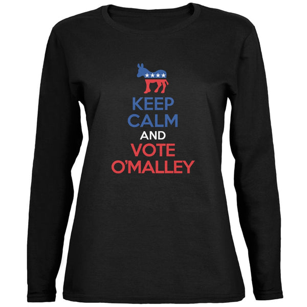 Election 2016 Keep Calm Vote O'Malley Black Ladies Long Sleeve Shirt