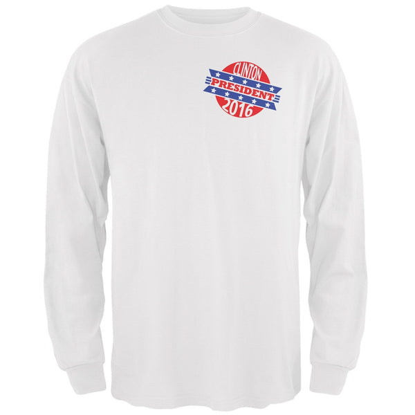 Election 2016 Clinton President Retro White Adult Long Sleeve T-Shirt