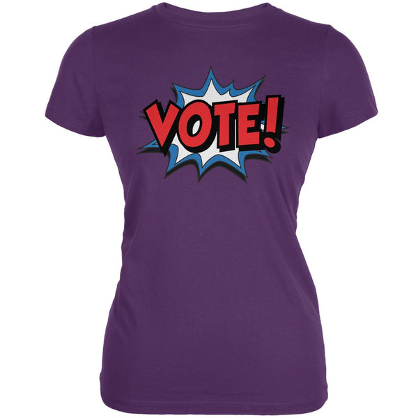 Election Comic Style VOTE! Purple Juniors Soft T-Shirt