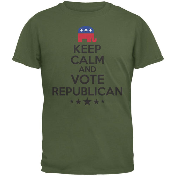 Election - Keep Calm Vote Republican Military Green Adult T-Shirt