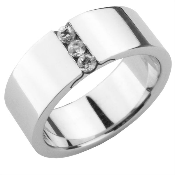 Three Centered Gems Stainless Steel Ring Band