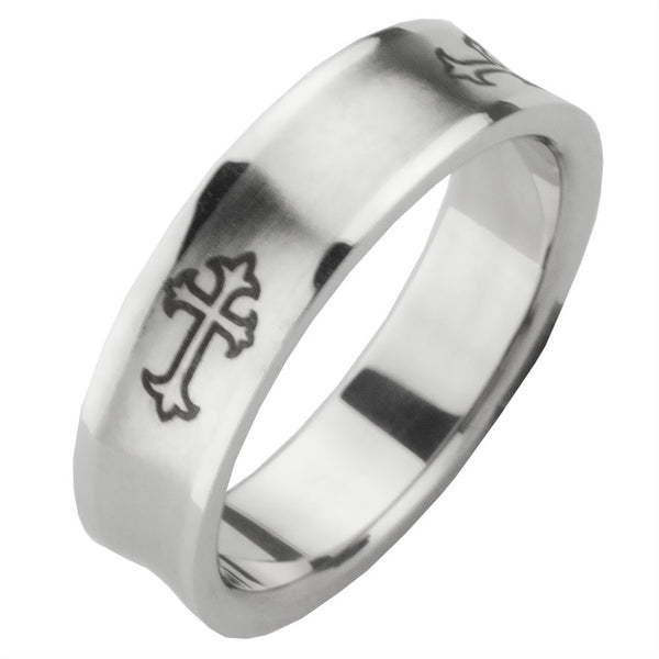 Thick Cross Ring Band