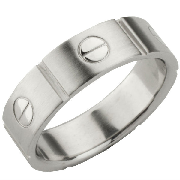 Screw Silver Ring Band