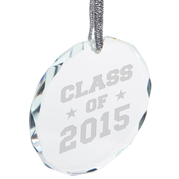 Graduation - Class of 2015 Stars Etched Round Crystal Ornament