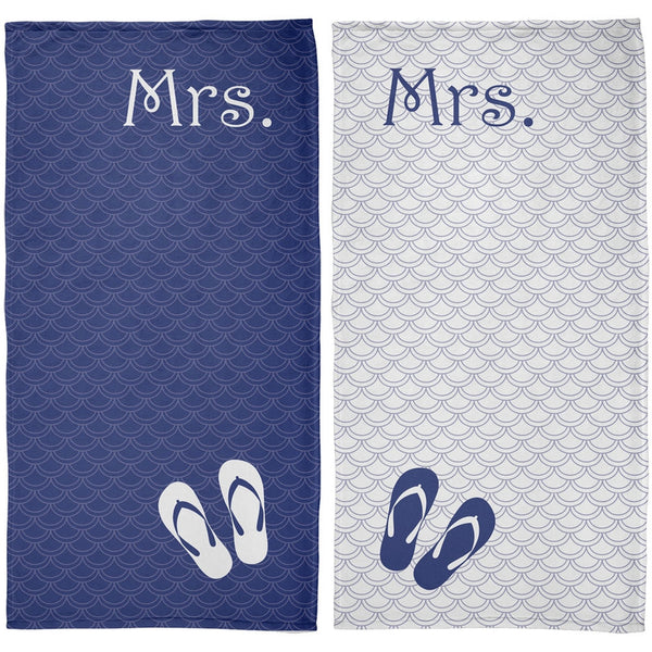 Mrs. & Mrs. Lesbian LGBT Honeymoon Navy All Over Beach Towel Set