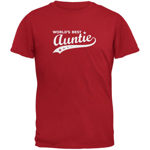 World's Best Auntie Red Adult T-Shirt
