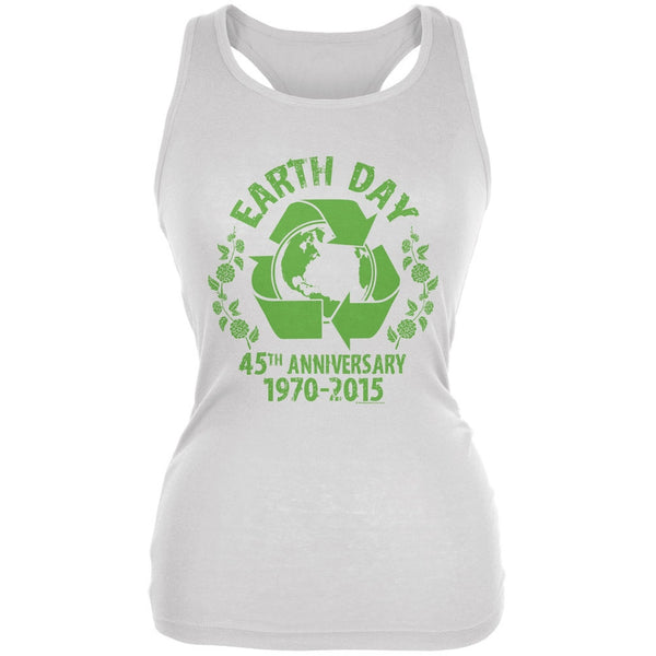 Earth Day - 45th Anniversary White Juniors Soft Tank Top