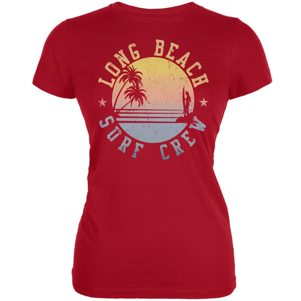 Long Beach Surf Crew Red Juniors Soft T-Shirt