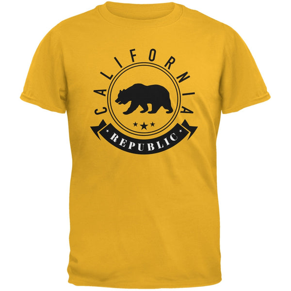 California Republic Banner Gold Adult T-Shirt
