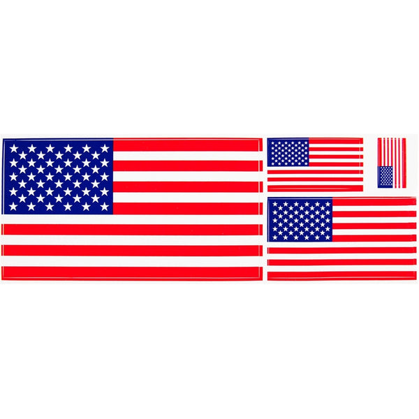 American Flag Multi-Pack of 4 Assorted Sizes Stickers