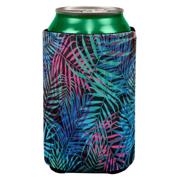 Palm Fronds Tropical Black Can Cooler