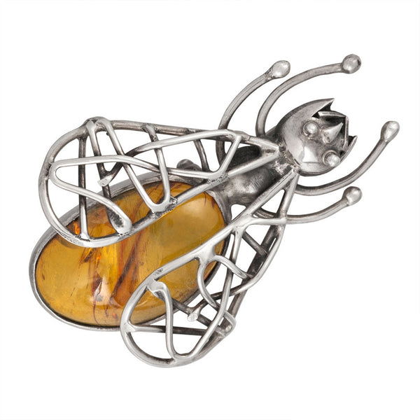 Amber Winged Bug Sterling Silver Pin/Pendant