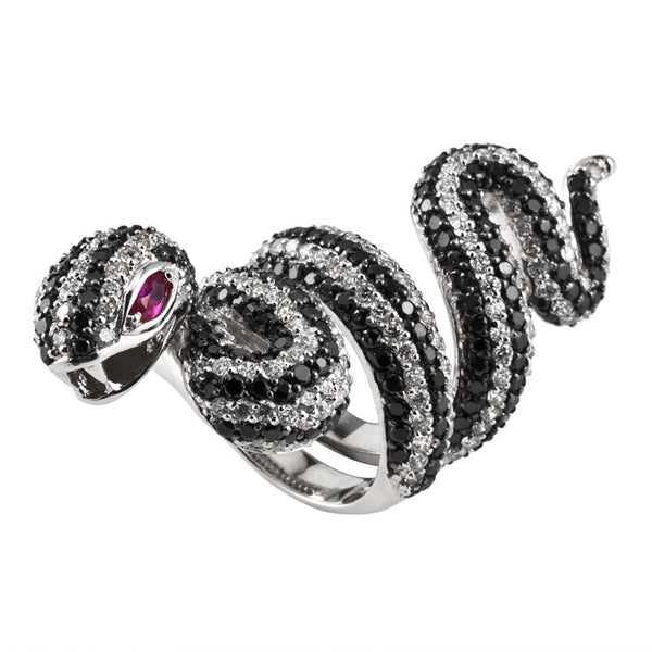 Black And White Zirconia Studded Coiled Snake Sterling Silver Adjustable Ring