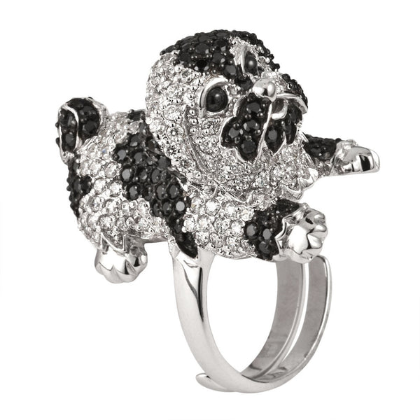 Black Zirconia Studded Shih Tzu Sterling Silver Adjustable Ring