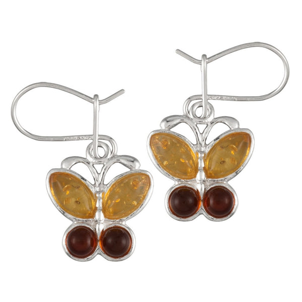 Brown and Cream Amber Butterflies Sterling Silver Earrings