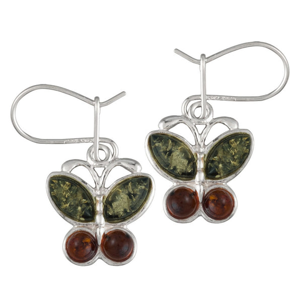 Brown and Green Amber Butterflies Sterling Silver Earrings