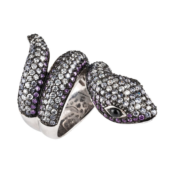 Dark Zirconia Studded Coiled Snake Sterling Silver Ring